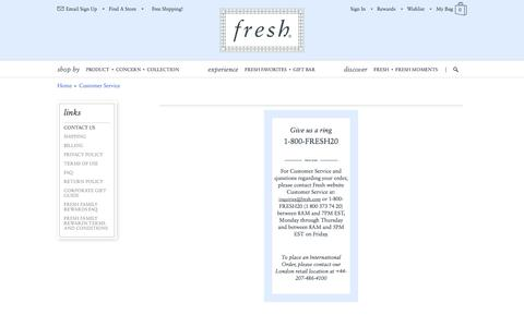 Screenshot of Contact Page Support Page fresh.com - Fresh - Skin care, Perfumes and Fragrances, Makeup, Cosmetics, Hair care, Candles and Soaps. - captured Oct. 23, 2014