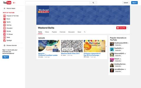 Screenshot of YouTube Page youtube.com - Weekend Balita  - YouTube - captured Oct. 23, 2014
