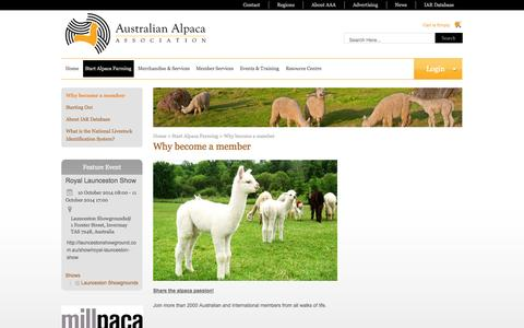 Screenshot of Signup Page alpaca.asn.au - Why become a member | Australian Alpaca Association - captured Oct. 4, 2014