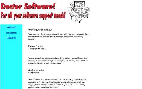Screenshot of Testimonials Page doctorsoftware.co.uk - Doctor Software - Software health checks, troubleshooting. - captured Oct. 5, 2014
