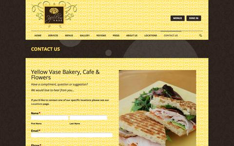 Screenshot of Contact Page yellowvase.com - Bakery, Flowers, & Cafe | Yellow Vase | Contact Us - captured Oct. 26, 2017