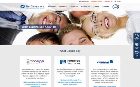Screenshot of Testimonials Page netdimensions.com - Testimonials from Clients & Experts- NetDimensions - captured Oct. 1, 2015