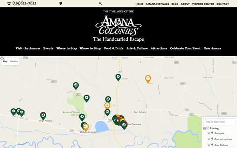 Screenshot of Maps & Directions Page amanacolonies.com - Interactive Map - Amana Convention and Vistors Bureau - captured Nov. 20, 2016