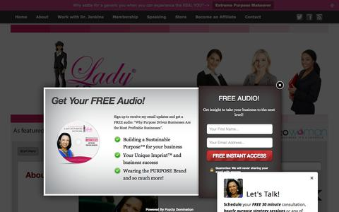 Screenshot of About Page ladyofpurpose.info - About - Lady of Purpose - Network for Women - captured Sept. 28, 2015