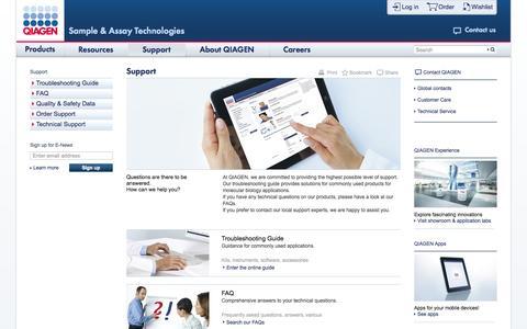 Screenshot of Support Page qiagen.com - Support - captured Sept. 19, 2014
