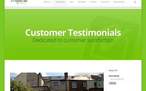 Screenshot of Testimonials Page jjcrump.com - J&J Crump & Son | Testimonials - JJ Crump & Son | Insulation, Energy and Heating Services - captured Feb. 3, 2016