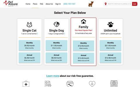 Screenshot of Pricing Page petassure.com - Pet Plan Details and Cost | Pet Assure - captured July 16, 2019