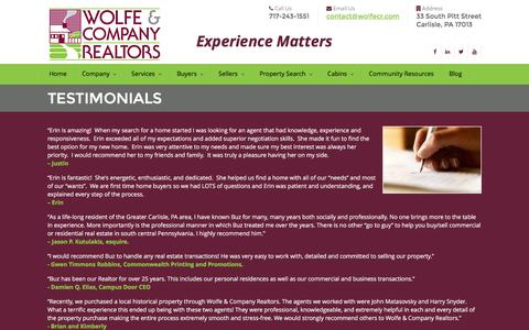 Screenshot of Testimonials Page wolfecr.com - Testimonials | Wolfe & Company Realtors – Carlisle Real Estate Listings in PA - captured Feb. 17, 2016