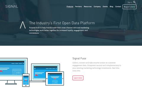 Screenshot of Products Page signal.co - Open Data Platform for Customer Data Collection | Signal - captured Sept. 13, 2014