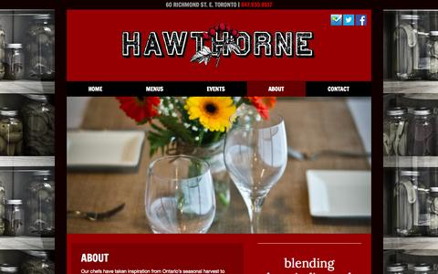 Screenshot of About Page hawthorneto.ca - About - Hawthorne Food and Drink - captured Oct. 2, 2014