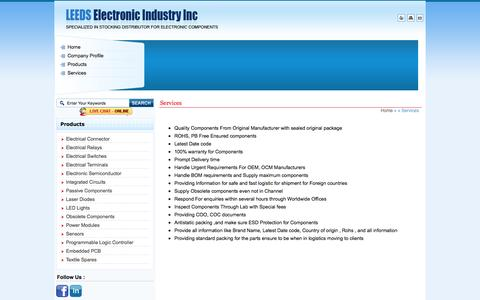Screenshot of Services Page leedsind.com - Providing Packing & Delivery Services - Obsolete Electronic Components & Electrical Capacitors - captured Oct. 2, 2014