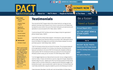 Screenshot of Testimonials Page pactforanimals.org - Testimonials : PACT: PEOPLE/ANIMALS = COMPANIONS TOGETHER - captured Sept. 26, 2014