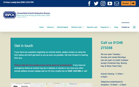 Screenshot of Contact Page chesterfield-rspca.org.uk - RSPCA Chesterfield & North Derbyshire Branch - Contact us - captured Nov. 23, 2018