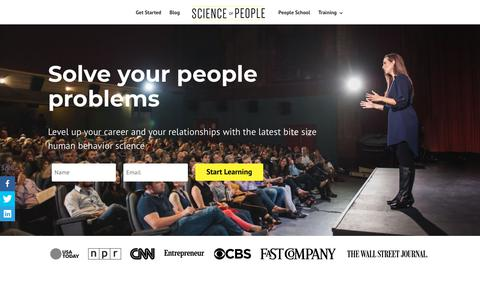 Screenshot of Home Page scienceofpeople.com - Science of People - Learn People Skills & Master Communication - captured Dec. 20, 2017