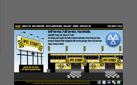 Screenshot of Home Page pitstartgarage.com - Pit Start - Self Service Garage - 020 8827 1919 - captured Oct. 2, 2014