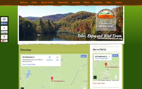 Screenshot of Maps & Directions Page cabincreekwood.com - Directions to Sherando Lake VA - Secluded Cabins in Shenandoah Valley - captured Oct. 1, 2014