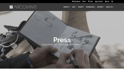 Screenshot of Press Page arcosanti.org - Press - Arcosanti - captured Sept. 29, 2018