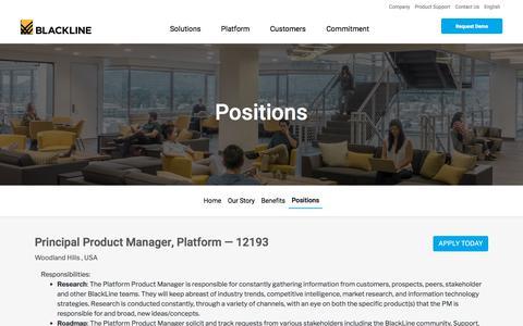 Screenshot of Jobs Page blackline.com - Principal Product Manager, Platform| Woodland Hills, CA, United States - captured Nov. 29, 2019