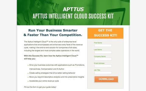 Screenshot of Landing Page apttus.com - Apttus Intelligent Cloud Sucess - captured Nov. 4, 2016