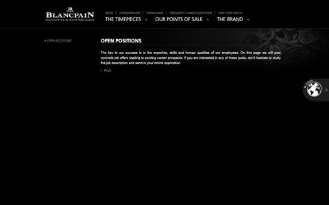 Screenshot of Jobs Page blancpain.com - Open Positions | Blancpain - captured Dec. 9, 2018
