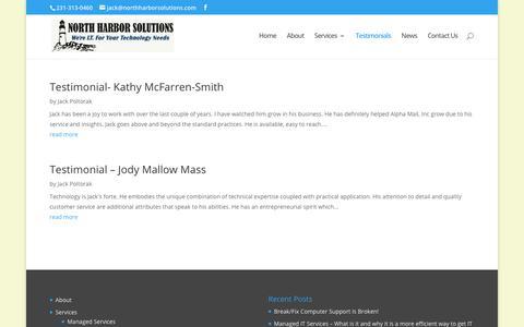 Screenshot of Testimonials Page northharborsolutions.com - Testimonials | North Harbor Solutions, LLC - captured June 16, 2017