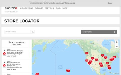 Screenshot of Support Page swatch.com - Store Locator - Swatch® United States - captured Oct. 3, 2018