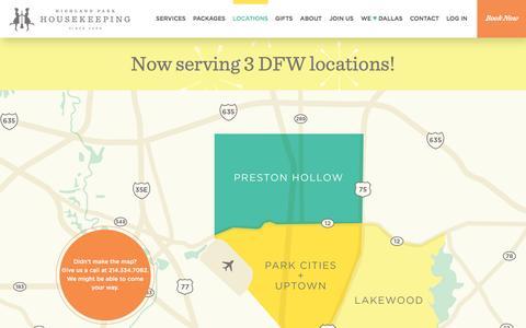 Screenshot of Locations Page highlandparkhousekeeping.com - Highland Park Housekeeping - captured July 14, 2016