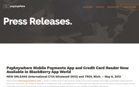 Screenshot of Press Page payanywhere.com - PayAnywhere Mobile Payments App and Credit Card Reader Now Available in BlackBerry App World | PayAnywhere - captured Sept. 28, 2018