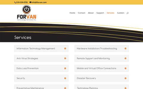 Screenshot of Services Page forvan.com - IT Services - Forvan Technologies - Oxford County, Ontario, Canada - captured Nov. 25, 2016