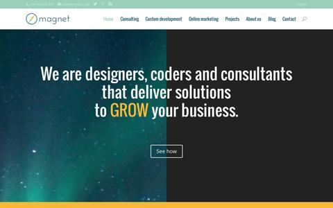 Screenshot of Home Page magnet.coop - Consulting, software development and online marketing - captured Oct. 1, 2014
