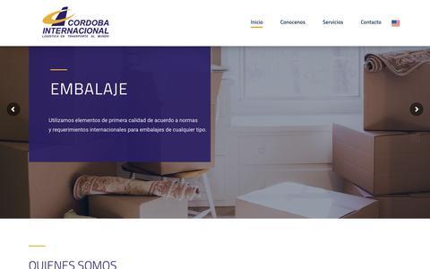 Screenshot of Home Page cordobaintl.com.ar - Cordoba Internacional – Logística en transporte al mundo - captured Sept. 25, 2018