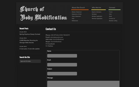 Screenshot of Contact Page uscobm.com - Contact the Church of Body Modification | Church of Body Modification - captured Oct. 2, 2014