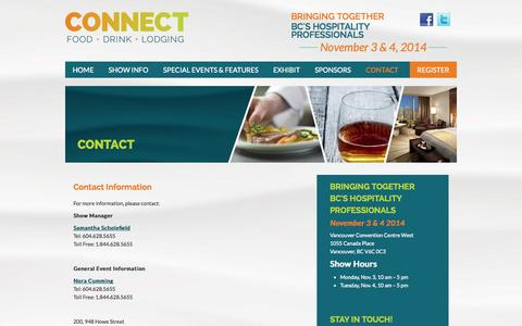 Screenshot of Contact Page connectshow.com - Contact - British Columbia Hospitality Expo   Connect Show - captured Oct. 2, 2014