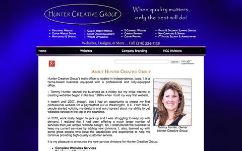 Screenshot of About Page huntercreativegroup.com - About Hunter Creative Group - captured Sept. 23, 2014