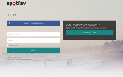 Screenshot of Login Page spotfav.com - Spotfav - captured May 10, 2017