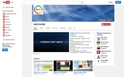 Screenshot of YouTube Page youtube.com - SISECOCRM  - YouTube - captured Oct. 27, 2014