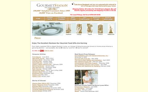 Screenshot of Press Page gourmetstation.com - Gourmet Food Gifts and Gourmet Dinners Delivered and Gourmet Meals: GourmetStation - captured June 30, 2018