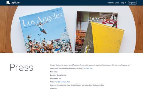 Screenshot of Press Page tapiture.com - Tapiture - captured July 3, 2015