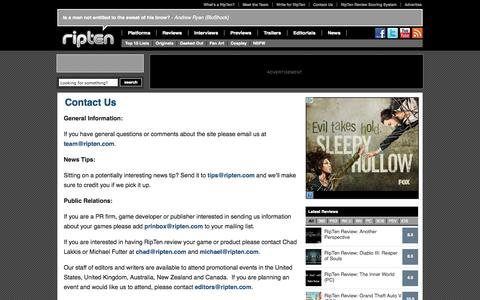 Screenshot of Contact Page ripten.com - Contact Us | RipTen Videogame Blog - captured Sept. 19, 2014