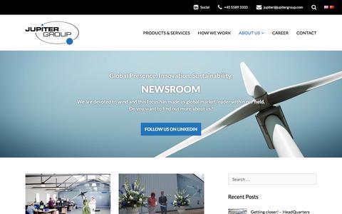 Screenshot of Press Page jupitergroup.com - Newsroom - Jupiter Group - Devoted to Wind - captured Aug. 8, 2016