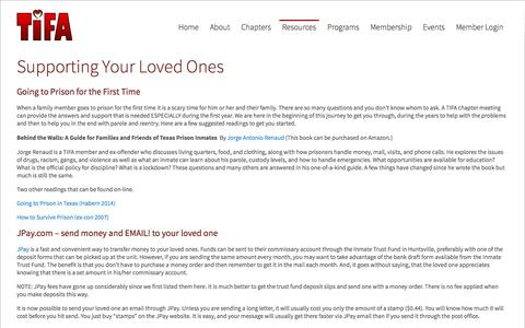 Screenshot of Support Page tifa.org - Supporting Your Loved Ones - Texas Inmate Families Association - captured Oct. 9, 2014