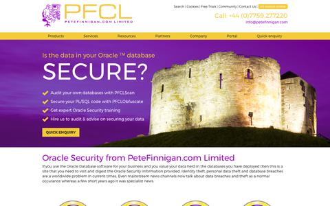 Screenshot of Home Page petefinnigan.com - Pete Finnigan - Oracle and Oracle security information - captured July 25, 2017