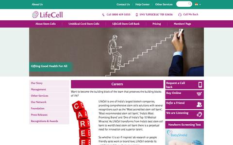 Screenshot of Jobs Page lifecell.in - Career opportunities and technological exposure  at LifeCell. - captured Sept. 25, 2014