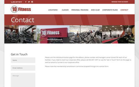 Screenshot of Contact Page 10fitness.com - Contact - 10 Fitness - captured Nov. 6, 2017