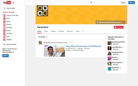 Screenshot of YouTube Page youtube.com - Parametric  - YouTube - captured Oct. 26, 2014