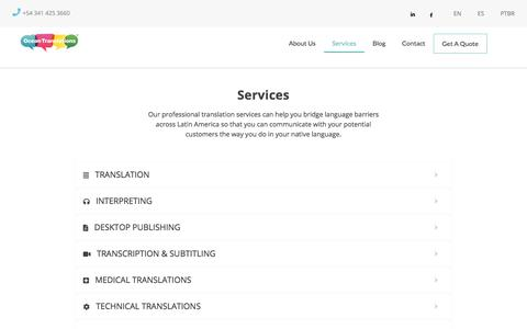 Screenshot of Services Page oceantranslations.com - Services - Ocean Translations - captured Aug. 20, 2019