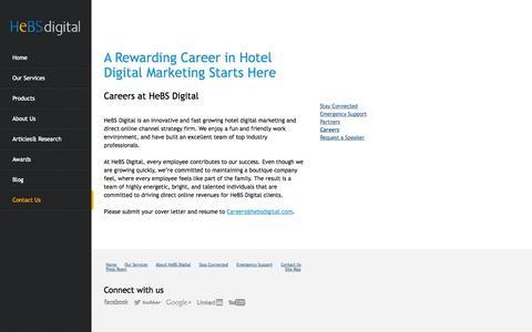 Screenshot of Jobs Page hebsdigital.com - Digital Marketing Jobs: Hotel Marketing Positions at HeBS Digital - captured Sept. 23, 2014