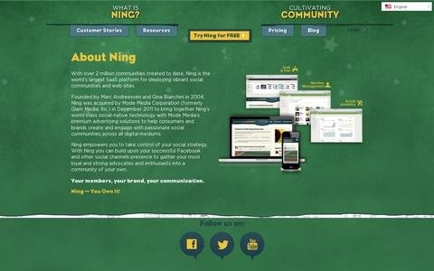 Screenshot of About Page ning.com - About Ning | Ning.com - captured July 20, 2014