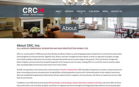 Screenshot of About Page crc-incorporated.com - Commercial Renovation & New Construction: About CRC Incorporated - captured Jan. 30, 2016