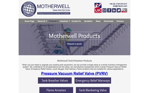 Screenshot of Products Page motherwelltankprotection.com - Motherwell Tank Protection :: Pressure Vacuum Relief Valve PVRV - captured Jan. 11, 2016